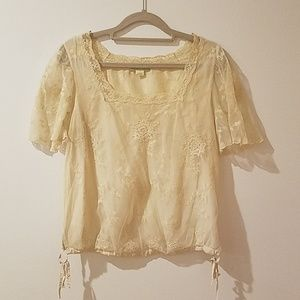 Anthropologie Ivory Lace Top, Sz 2